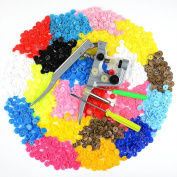 Idealeben 350 sets T5 Snap Plastic Buttons Poppers 25 colour Plier Studs Fasteners for Baby Cloth Nappy Bib