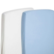 2x Fitted Sheets Compatible With Snuzpod Bedside Crib 100 % Cotton - White/Blue-By For-Your-Little-One