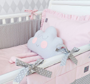 **NEW EXCLUSIVE & LUXURY BABY GIRL BEDDING SET - powder pink + grey polka dot - DUVET, PILLOW, DUVET COVER, PILLOWCASE, BUMPER, COT TIDY + DECORATIVE CUSHION IN THE SHAPE OF CUTE CLOUD to FIT COT OR COT BED