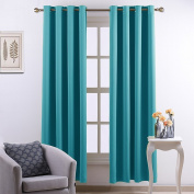 Windows Treatment Eyelet Blackout Curtains - PONY DANCE (130cm Wide by 210cm Drop, Turquoise, 2 Pcs) Window Treatment Blinds for Bedroom/ Living Room Home Fashion & Decoration
