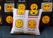 Emoji Expressions Smiley Face Cushion Cover White