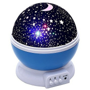 Riroad Night Lighting Lamp [ 4 LED Beads, 3 Model Light, 4.9 FT (1.5 M) USB Cord ] Romantic Rotating Cosmos Star Sky Moon Projector, Moon Star lighting Lamp, 4 LED beads Rotating Romantic Lamp Relaxing Mood Light Ceiling Projector Baby Nursery Bedroom ..