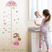 Wallpark Colourful Flowers Birds Girl Holding Umbrella Height Sticker, Growth Height Chart Measuring Removable Wall Decal, Children Kids Baby Home Room Nursery DIY Decorative Adhesive Art Wall Mural