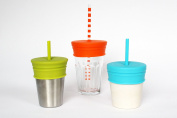 Froglet® silicone spill-proof straw lids (3 pc) BPA free. Fits most drink cups.