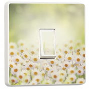 Beautiful Daisies Design Single Light Switch Cover Skin Sticker