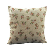 Tapestry Chair Arm Covers, Chair Backs, Cushion covers and Table Runners Brown Rose with Green Leaf Detail on Beige With Lace Trim (17 inch 43 cm CUSHION COVER