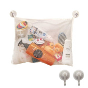 Bath Toy Organiser 46cm x 36cm Mesh Bag Includes 2 Suction Hooks For Shower Accessories