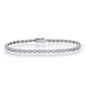 1.55 Carat G-SI1 Round Cut Diamond Bezel Tennis Bracelet 14K White Gold