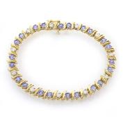 1.50 Carat Diamond and 4.00 Carat Tanzanite 14k Yellow Gold Tennis Bracelet