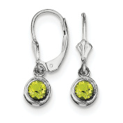 .925 Sterling Silver 5MM Round Peridot Lever Back Earrings