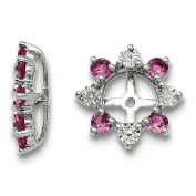 .925 Sterling Silver Genuine Diamond & Created Pink Sapphire Earring Jackets
