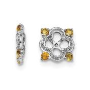 .925 Sterling Silver Genuine Diamond & Citrine Earring Jackets