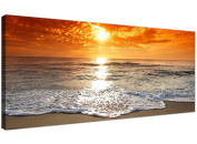 Cheap Canvas Pictures of a Tropical Beach Sunset for your Bedroom - Panoramic Seaside Wall Art - 1152 - Wallfillers®