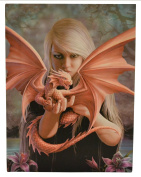 Fantastic Anne Stokes Design - Dragon Kin - A Gothic Angel Holding a Red Pet Dragon Canvas Picture on Frame Wall Plaque / Wall Art