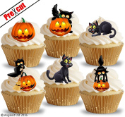 PRE-CUT CAT & PUMPKIN EDIBLE RICE / WAFER PAPER CUPCAKE CAKE TOPPERS HALLOWEEN PARTY BIRTHDAY DECORATIONS
