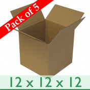 """5 x Strong Cubed Mail Postal Parcel Cartons - Double Wall Cardboard Boxes - 12"""" x 12"""" x 12"""" / 305mm x 305mm x 305mm"""