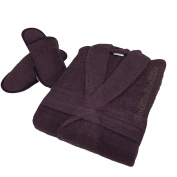 Ladies Bathrobe Womens Towelling Dressing Gown Mens Bath Robe Free Matching Slippers long Free Size Housecoat 100% Cotton , Plum
