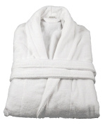 100% Cotton Terry Towelling Shawl Collar Bathrobe + Matching Belt - WHITE by The House Of Emily
