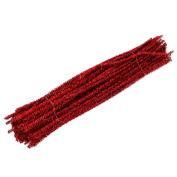 Dophee 100Pcs Glitter Chenille Stems Pipe Cleaners Christmas Tree Handicraft for Children, Red