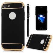 iPhone 7 Case (4.7 inch) - 3 in 1 High Impact Shockproof Anti-slip Lightweight Bumper Plating Frame Oleophobic Coating Comfortable Touch Full Protective Hard PC Cover by Badalink - Black