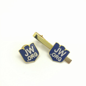 Shield-jw.org gift necktie clip and lapel pin set-With JW.ORG Logo Gift Box-Gold