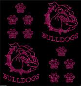 Hot Pink 2x Bulldog face + 10 Dog paw prints iron on Rhinestone Transfer crystal hotfix t-shirt transfer