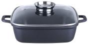 "KOPF Cast Aluminium Roasting Pan ""Santorin"", Glass Lid with Aroma Knob, Suitable for Induction, 3.8 Litre, 35 x 28 Centimetre, Black"