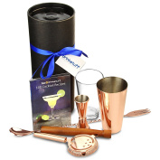 Copper Boston Cocktail Shaker Set with Copper Boston Shaker Tin, Jigger, Strainer, Bar Spoon, Muddler, Classic Recipe Book in Gift Tube