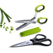 Kitchen Shears - Heavy Duty Kitchen Scissors Come With Bonus 5 Blade Herb Scissors And Cleaning Comb - Shear Genius Scissor Set Features Stainless Steel Blades, an Ergonomic Design and Soft Grip Rubber Handles