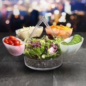 On Ice Salad Server - Acrylic Salad Bowl with 4 Side Server Dishes and Salad Servers - Salad Bowl