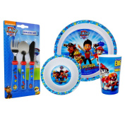 Paw Patrol 3PC Dinner Set and matching 3PC Cutlery Set Combo
