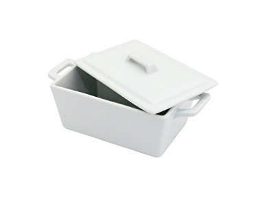 Superwhite Porcelain White Butter Dish with Lid, Ceramic Dining Table Serving Bowl