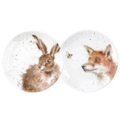 Wrendale by Royal Worcester Coupe Plates Fox and Hare, Multi-Colour, Set of 2