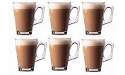 Invero® 6x Set of Premium Café Latte 240ml (8.8oz) Clear Tall Glasses Perfect for Tea Coffee Mocha Hot Chocolate Cappuccino Espresso and other Hot Drinks