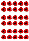 30 Red Poppy Remembrance Day Flower Edible Wafer Paper Cake Toppers Decorations