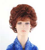 SherryShine Halloween Cosplay 28cm Short Curly Full Head Fluffy Red-brown Wigs with Bangs and Free Cap and Comb