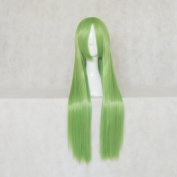 ELSWORD Rena Green and Gold Mixed 80cm Straight Cosplay Wig + Free Wig Cap