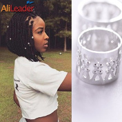 Silver Dreadlock Beads for Hair Adjustable No Rust Aluminium Metal Cuffs Beads 8.5mm 100pcs Braiding Hair Decoration Jewellery by AliLeader