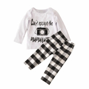 Efaster Kid Baby Girls Boy Clothes Letters Camera Top+Grid Pant Retro Outfit Set