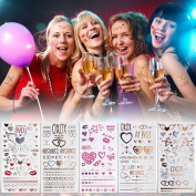 5 Sheet Bachelorette Party Waterproof Temporary Tattoos Premium Metallic Face Body Tattoo Bridal Shower Halloween Christmas Party Decorations Supplies