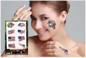 Fireboomoon 32 Pcs American Flag Temporary Tattoo Kit/USA Temporary Tattoo for American