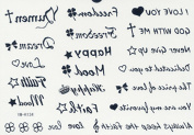 Look like real long last temporary tattoos different english words love you, happy, dream, never give up, etc. by lutech