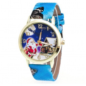 AMA(TM) Men Women Christmas Santa Claus Pattern Leather Band Analogue Quartz Vogue Wrist Watch