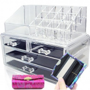 Acrylic Cosmetics Makeup Organiser with Lipstick Case