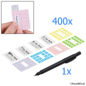 Labels for Lip Balm Tubes / Value Pack of 400 Stickers (or Other Purposes) - 200 Writable Stickers and 200 Printed Stickers - Self Adhesive Easy Peel - Fineliner Pen Included for Label Writing