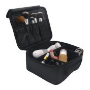 Lmeison Premium Waterproof Portable Hook and loop Travel makeup bag / Makeup Brush Sets / Cosmetic Artist Organiser Kit for Women Makeup or Men Shaving Kit for vacation-Black