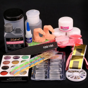 US Seller ~ Acrylic Liquid Powder Half French Nail Art Tips Pump File Clipper Tools Kit #1643