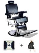 """Truman"" Vintage Reclining Hair Salon Barber Chair with Microfiber Towel and Salon Cape"