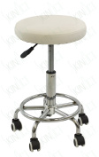 Econo Hydraulic Stool Multi-purpose White Hydraulic Adjustable Rolling Stool w/ Foot Rest for Massage Tables, Examination Tables, Office, Medical and Home Use