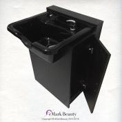 Black Square ABS Plastic Beauty Salon Shampoo Bowl Floor Cabinet w/ Storage TLC-B22-FC